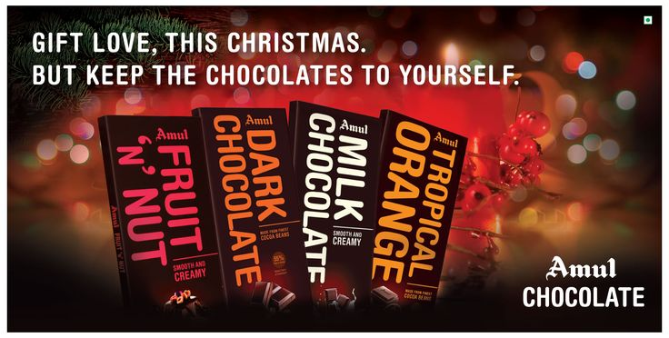 A gift for someone you love. Enjoy this #Christmas with #Amul Chocolates ! #sweet #festival #gift #merrychristmas