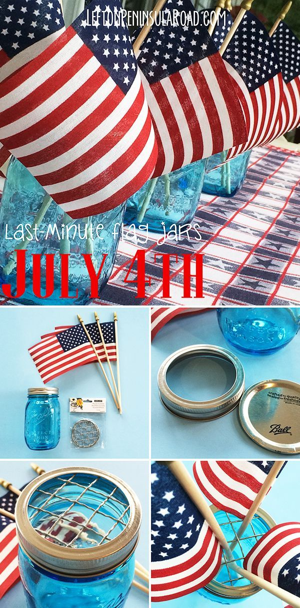 Blue Mason Jars and Flags make great Patriotic Table Decor! Easy idea for the 4th of July.