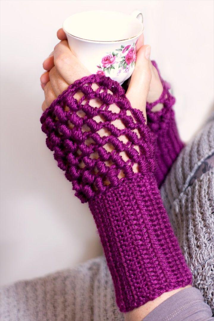 Crochet Bullion Stitch Fingerless Gloves Pattern- 20 Easy Crochet Fingerless Gloves Pattern | DIY to Make