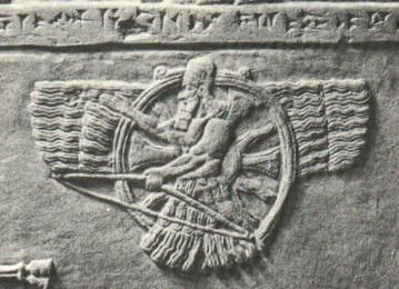 Ashur, a Sumerian sky god who was also adopted as the head deity of the Assyrian pantheon. Ashur is pictured as a man riding within a winged sun disc that is almost identical to the one associated with the Shemsu Hor. It is worth remembering that the original Egyptian rendering of Osiris is Ausur, which for all intents and purposes is the same word as Ashur.