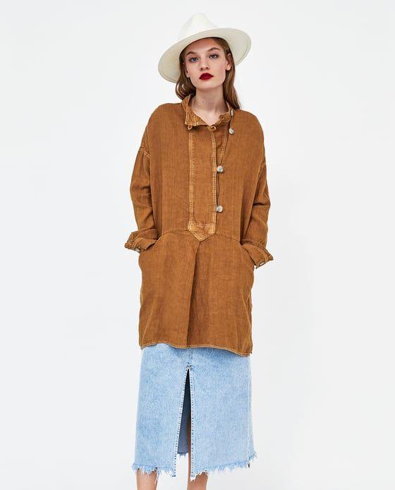 b31d6fd269 Image 1 of OVERSIZED LINEN DRESS from Zara