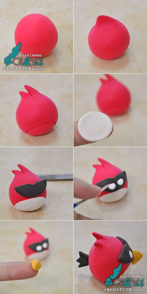 How to make a clay red angry bird