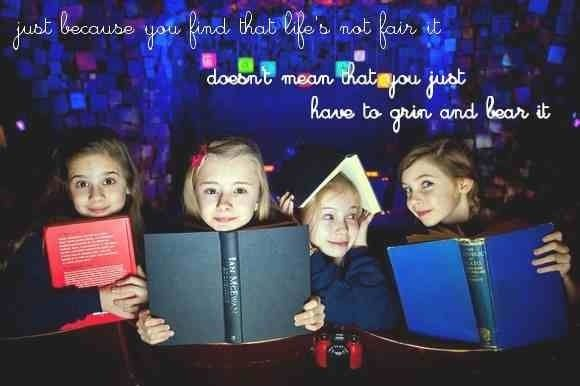 { from left to right } cleo demetriou, kerry ingram, sophia kiely, & eleanor worthington-cox — the original four actresses to play matilda in the west end's matilda the musical