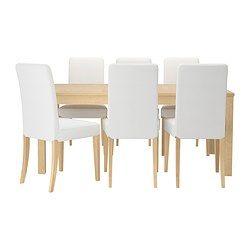 IKEA - BJURSTA / HENRIKSDAL, Tafel met 6 stoelen, De grootte van de tafel is snel en eenvoudig aan te passen aan de behoefte. Met 2 inlegbladen, die gemakkelijk bereikbaar onder het tafelblad worden opgeborgen, kan je de tafel verlengen zodat deze plaats biedt aan 6-8 personen.Je kan de inlegbladen makkelijk bereikbaar onder het tafelblad opbergen.Door de verborgen vergrendelfunctie is er geen gleuf tussen de bladen en blijven de inlegbladen op hun plaats.Het blank gelakte oppervlak is…