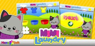 Mimi Laundry help toddlers knowledge of colors.  Grap and put the clothes in the basket according to the color of each.