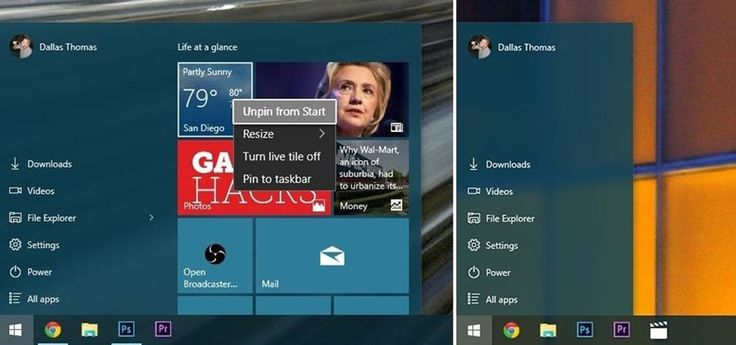 How to Remove Live Tiles & Resize the Start Menu in Windows 10 « Windows Tips