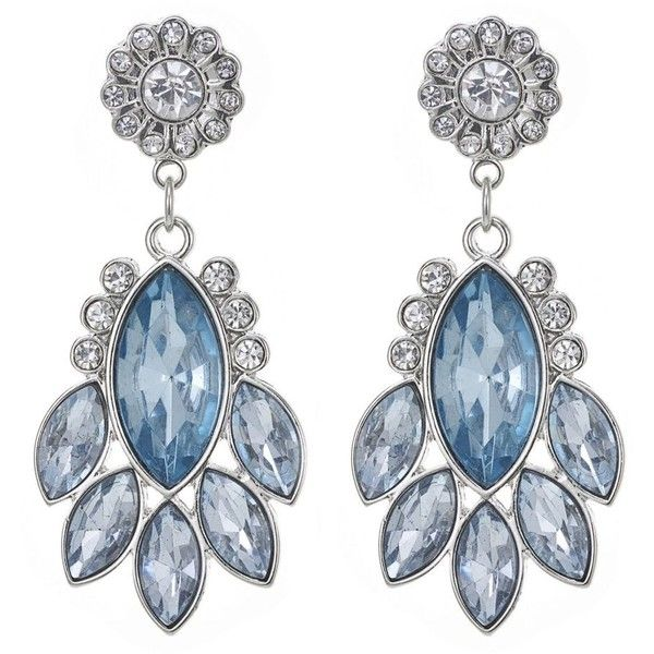 The Collection Blue crystal flower drop earring ❤ liked on Polyvore featuring jewelry, earrings, blossom jewelry, crystal jewellery, earring jewelry, flower jewelry and crystal flower earrings