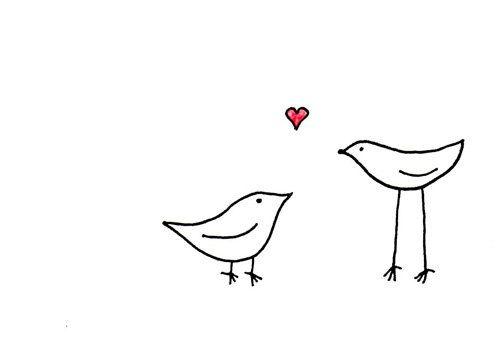 Love Birds Art Print - Cute Whimsical Valentine Drawing - Tall Bird Loves Small Bird. $14.50, via Etsy.