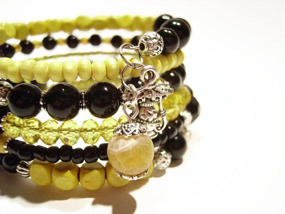 Beaded memory wire bracelet Mystical jewelry by AellaJewelry, $19.90 #bracelet #yellow #black