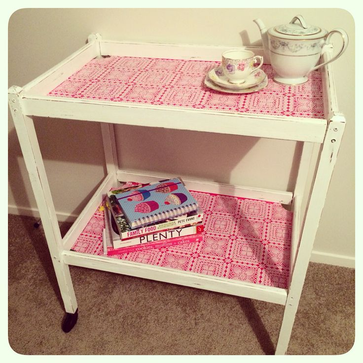Vintage tea trolley with a pop of colour!