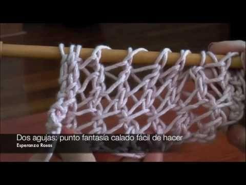 Instrucciones del punto fantasía calado fácil de hacer tejido en dos agujas o palillos