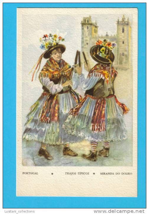 ART CARTE POSTALE POSTAL POSTCARD PORTUGAL MIRANDA DO DOURO FOLK FOLKLORE MUSIC DANCE COSTUMES PORTUGUESES PAULITEIROS