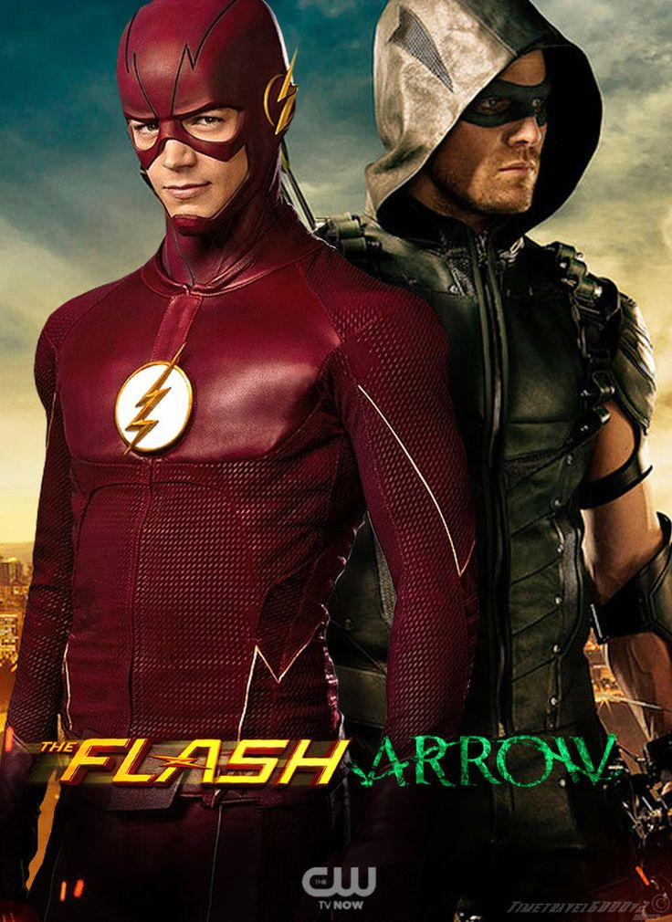 An updated Flash and Arrow poster featuring The Flash in his season 2 costume and Arrow, now known as Green Arrow, in his season 4 costume.