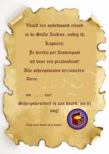 flessenpost-uitnodiging-piraten Allemaal piraten activiteiten