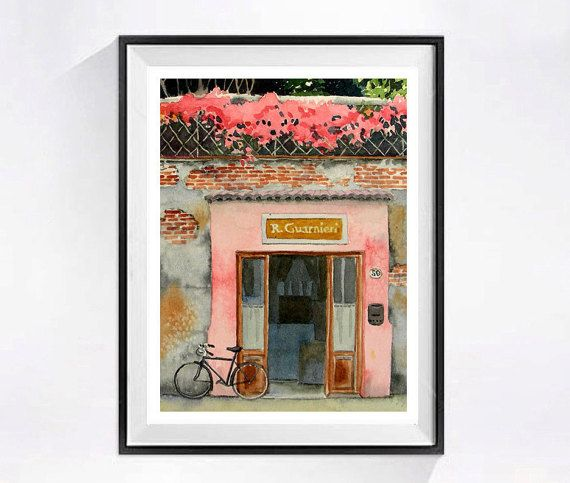 5. Bicycle Artwork Watercolor PRINTs Pink by WatercolorByMuren