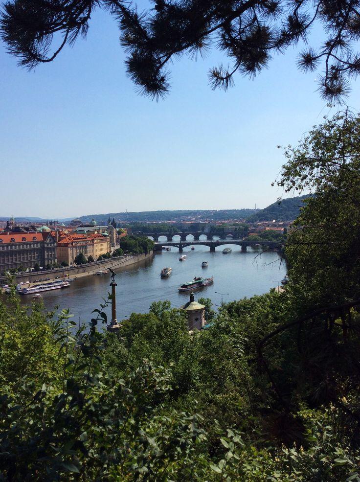 View of the Charle's bridge from Letna park, Prague; Czech republic