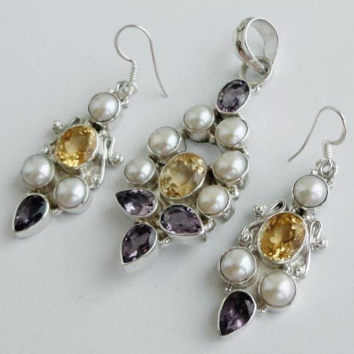 925 Sterling Silver  Set 2 7/16'' Citrine, Pearl, Amethyst Jewelry-SRG01468