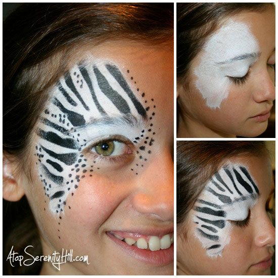 Halloween face painting • stenciled animal prints - Atop Serenity Hill