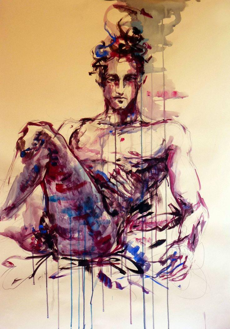 "Cristina Carturan  ""Paolo"" - Acrilici ed Ecoline 70x100 cm"