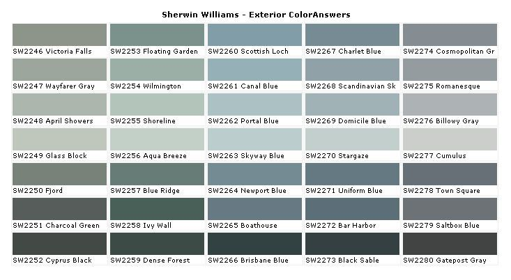 Sherwin Williams Paint Color Chart Blue Gray Blue Green