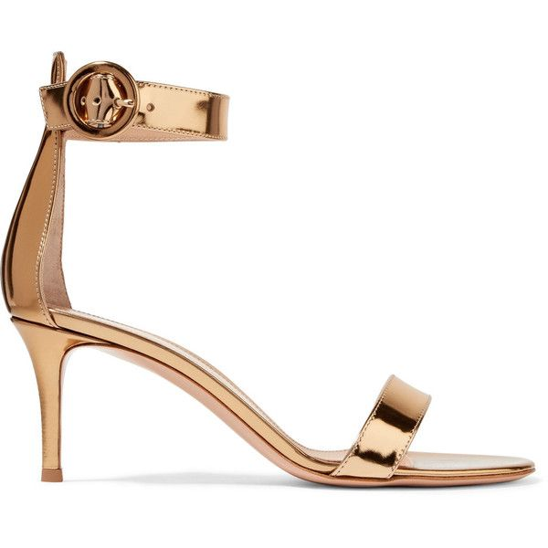 Gianvito Rossi Portofino metallic leather sandals ($655) ❤ liked on Polyvore featuring shoes, sandals, leather strap sandals, polish shoes, strappy high heel sandals, leather high heel sandals and monk-strap shoes