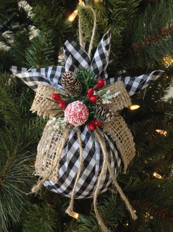Christmas Tree Ornaments / Plaid Xmas Ornaments / Set of 2 Ornaments