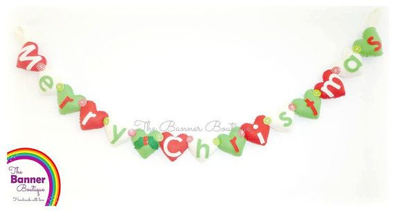 Sew your own Merry Christmas heart garland by TheBannerBoutiqueUK, £14.00