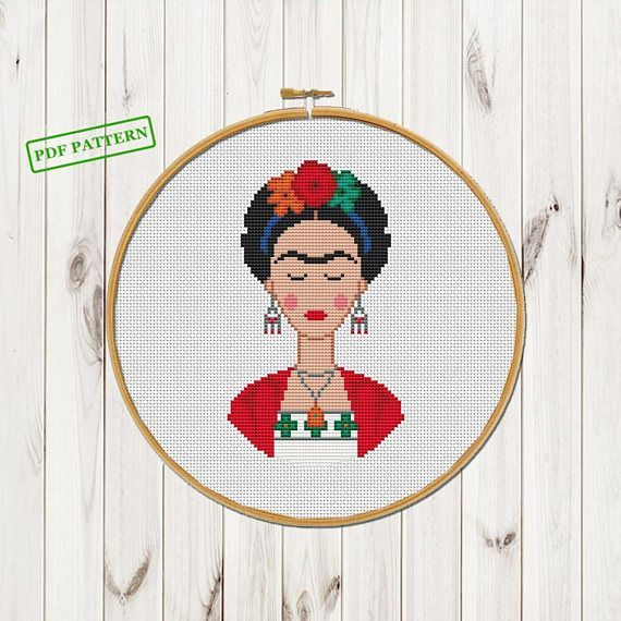 Frida Cross Stitch Pattern Modern Xstitch pattern Frida Kahlo