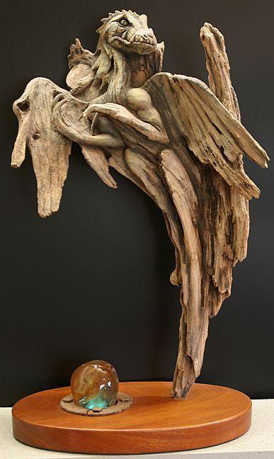 Dragon amber large original rick cain wood carving