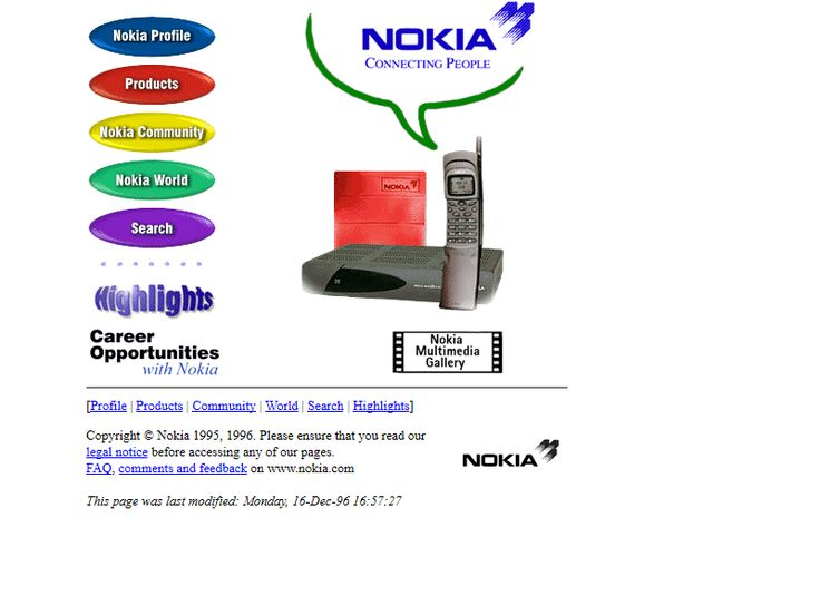 Nokia website in 1996