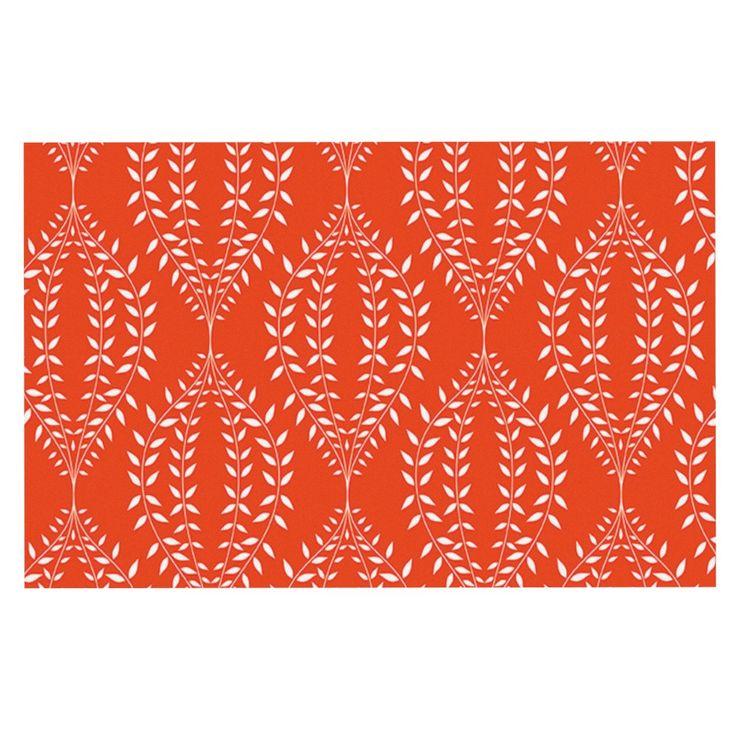 "Anneline Sophia ""Laurel Leaf Orange"" Red Floral Decorative Door Mat"
