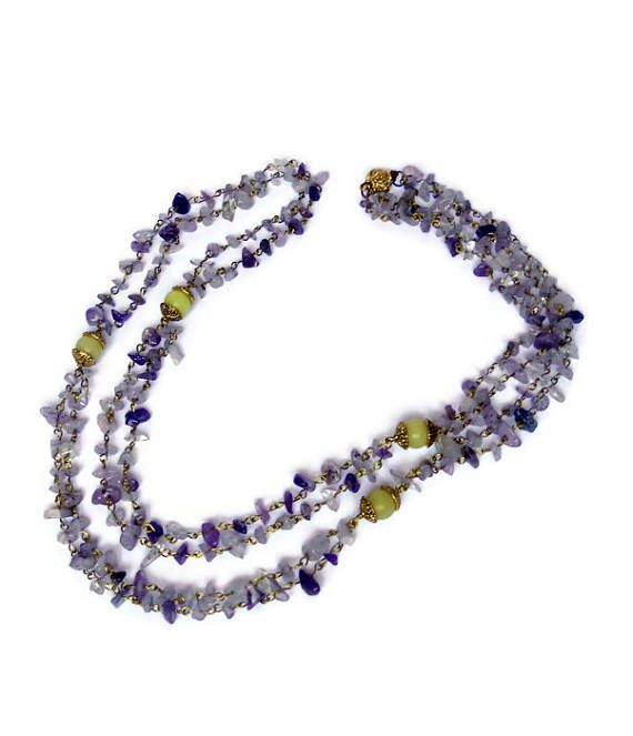 Amethyst jewelry Necklaces  Wire wrapped Multistrand necklace