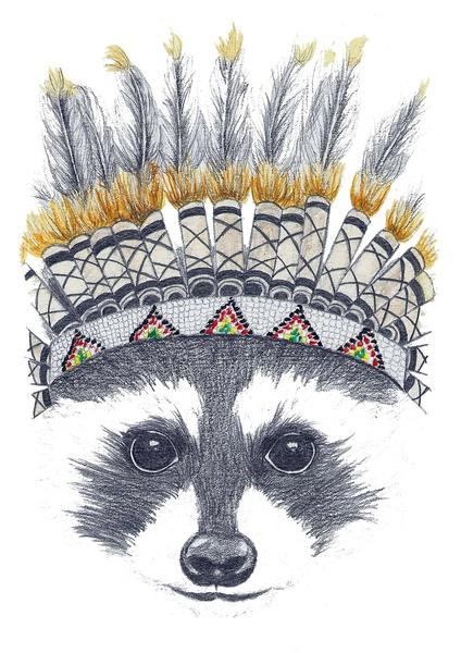 Festivale Raccoon Art Print by Mia Grant | Society6 @Alissa Evans Evans Evans Evans Evans OBrien Phillipoff