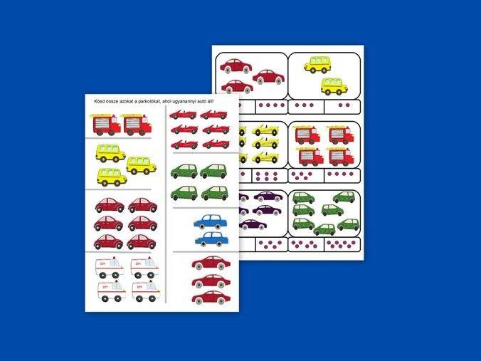 Kösd össze az ugyanannyit!  - összekötős feladatlap és kártyák formájában is. Számolj, karikázz! -a matematikai képességek fejlesztéséért. http://jatsszunk-egyutt.hu/autos-jatekcsomag/
