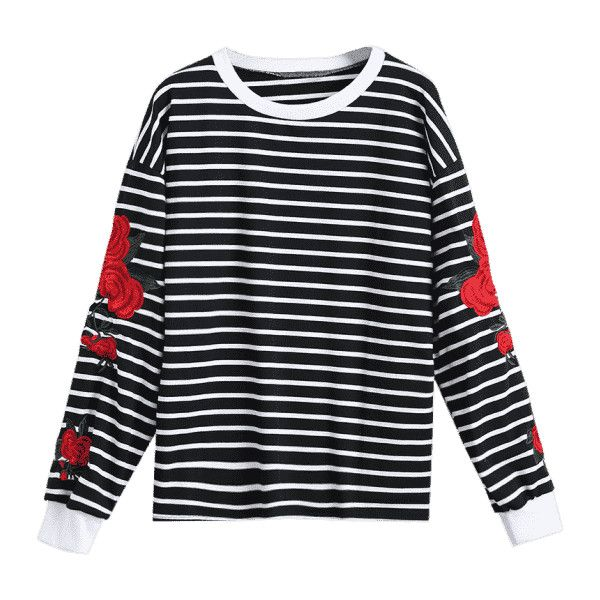Floral Patched Striped Sweatshirt Black (€17) ❤ liked on Polyvore featuring tops, hoodies, sweatshirts, floral stripe top, floral print sweatshirt, flower print top, floral tops and striped top