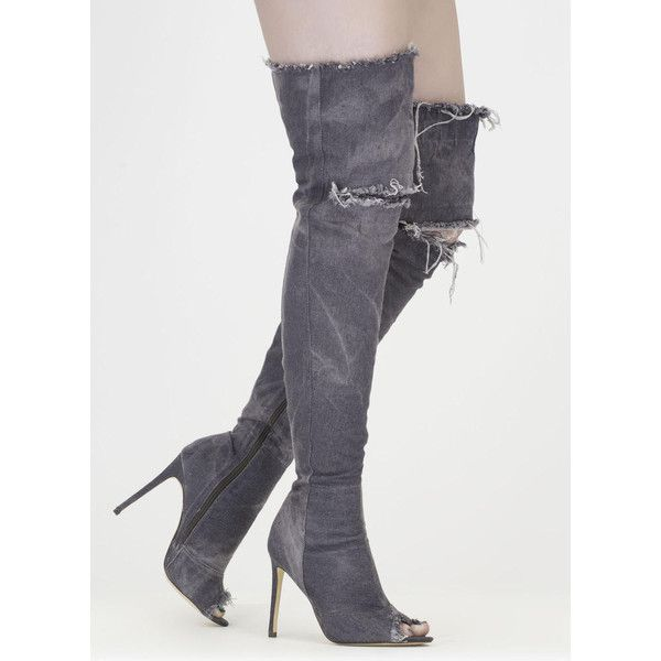 'Distress Signal' Denim Thigh-High Peep Toe Boots - Grey, Black, Blue ❤ liked on Polyvore featuring shoes, boots, gray thigh high boots, black over-the-knee boots, black thigh high boots, blue denim boots and peep toe thigh high boots