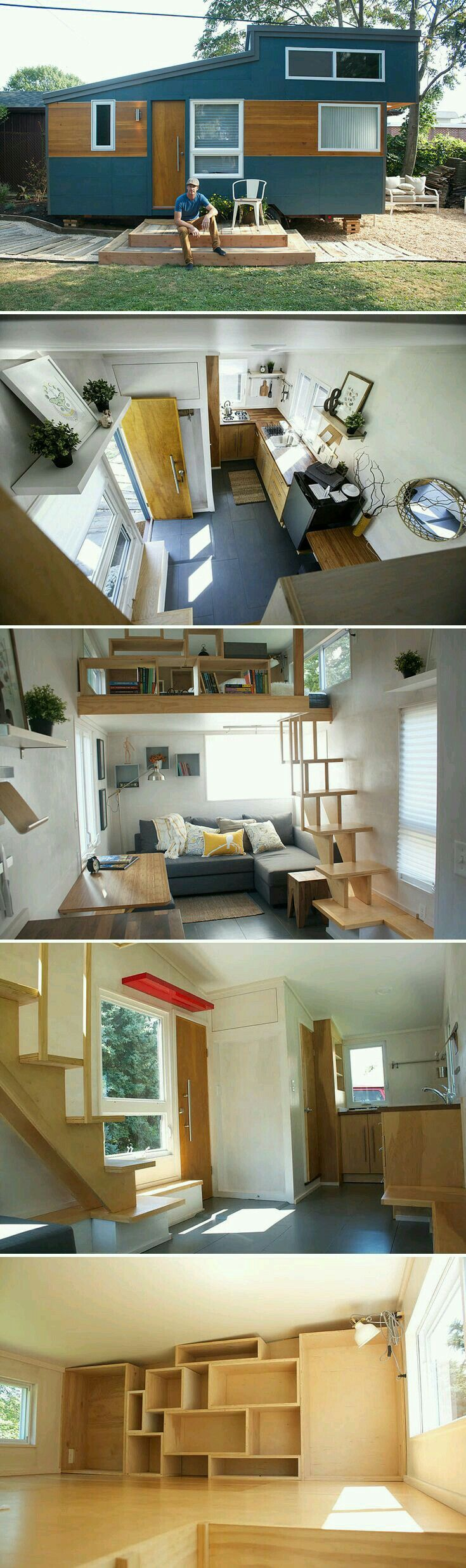 Shelving in loft 171 best Tiny House