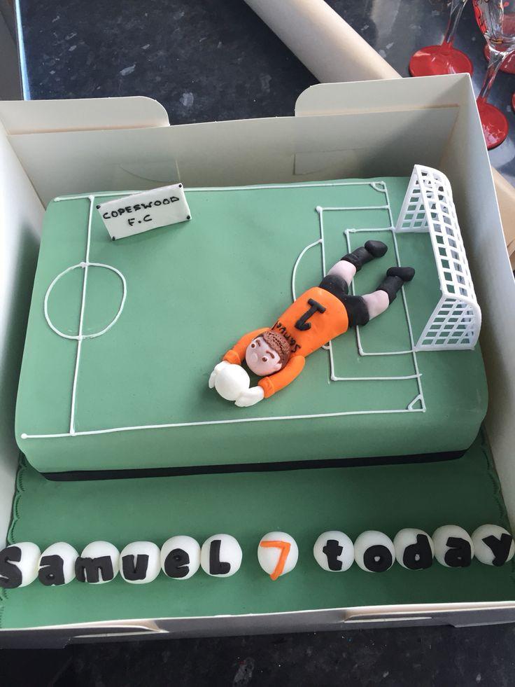 #soccer #cake #football Football party Football cake Goalie cake Seven year old birthday cake Team cake Personalised cake