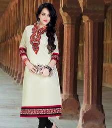 Buy Eyecatchy Off White Colored Embroidered Cotton Kurti kurtas-and-kurti online