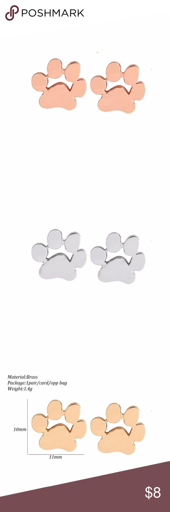 🎁 Paw Print Earrings available in 3 colors Perfectly adorable stud earrings.  Available in gold, silver and rose gold.  Gift box is included. Jewelry Earrings
