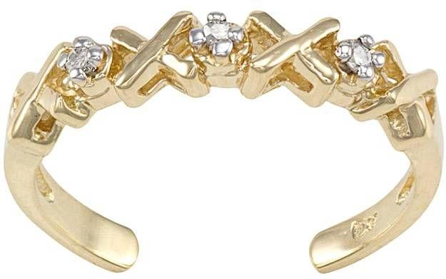 Xo Diamond Accent 10k Gold Toe Ring