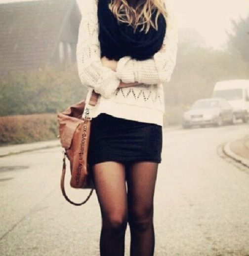 -- www.mystaticguard.com  i love this outfit and how trendy it is. wrap around scarf the stockings fall bag. super cute for just hanging out going out with friends or on a date
