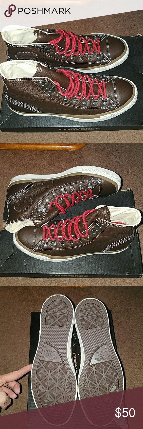 Leather converse high tops New in box.  Converse CT hiker high top.  Chocolate brown.  Mens size 8, womens size 10.   Super cool shoes...never worn because they are too big for me :( Bought them hoping a thick pair of socks would do the trick, but that didn't work.   They come from my non smoking, pet friendly home. Stored in their original box in the closet away from critters.   Don't like my price?  Make me an offer.  I will consider REASONABLE offers. Converse Shoes Sneakers