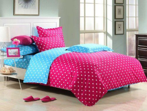 perfectos 4pcs queen size chic colorful hot pink polka dot cute bedding set polka dot bedding