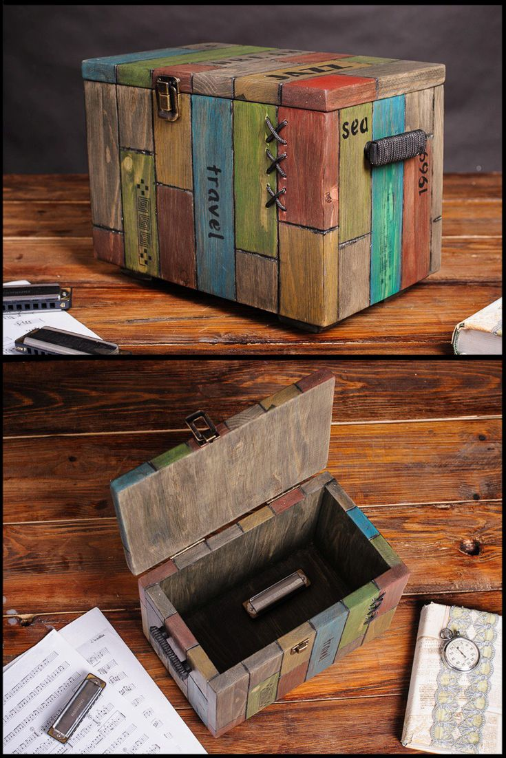 Wood Trunk Storage Box With Lid Jewelry Rustic Living Kids Room Shabby Chic Home Decor Treasure Chest Keepsake Large Wood Birthday Gift Box