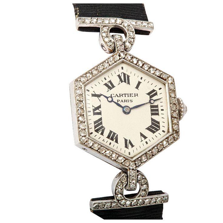 ♥ CARTIER PARIS Art Deco Diamond Watch  France, 1915 - very fine, rare, and elegant, hexagonal shaped, Art Deco, platinum