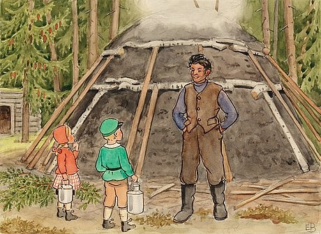 Charcoal burner shows his mill to Petter and Lotta