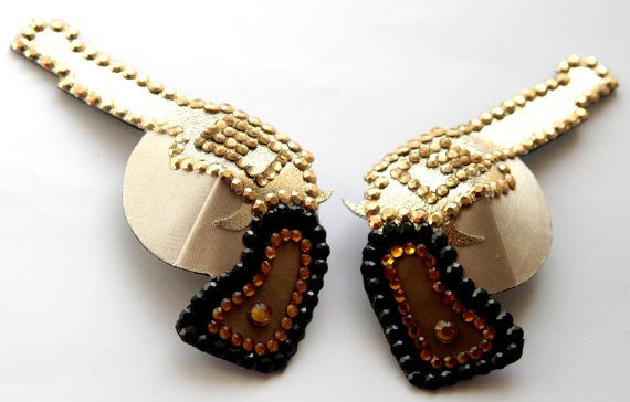 Wild West Guns Mirror Pair Rhinestone Nipple Pasties Covers Burlesque Black Brown Gold