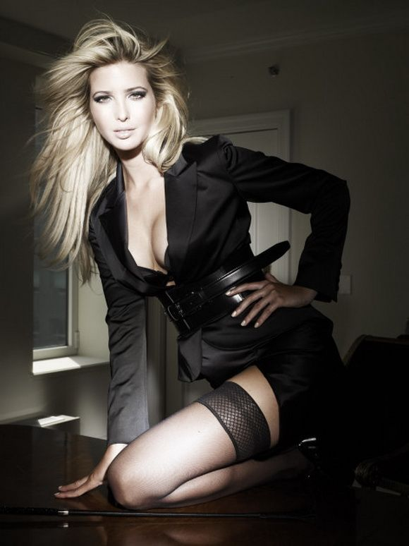 Here's Ivanka Trump, also one of my icons. I love the combination of sexy,  satiny black with sheer lace top thigh highs!
