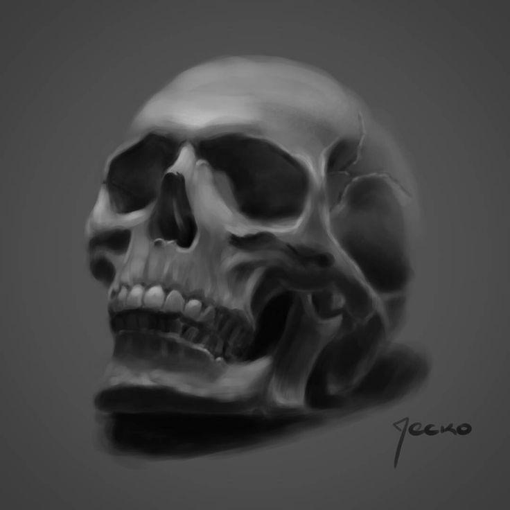 "62 Me gusta, 3 comentarios - Jerson Cerpa ""Jecko"" (@jecko_jc) en Instagram: ""Práctica digital #digitalillustration #digitalpainting #skull #ilustraciondigital #blackandwhite…"""